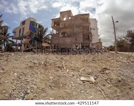 Houses Destroyed By The Massive Earthquake That Shook Ecuador, South America on April 16Th, 2016  - stock photo