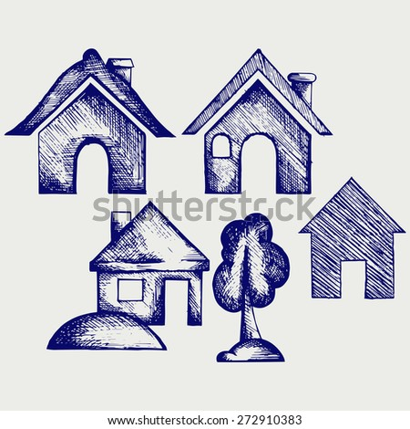 Houses icons set. Doodle style. Raster version - stock photo