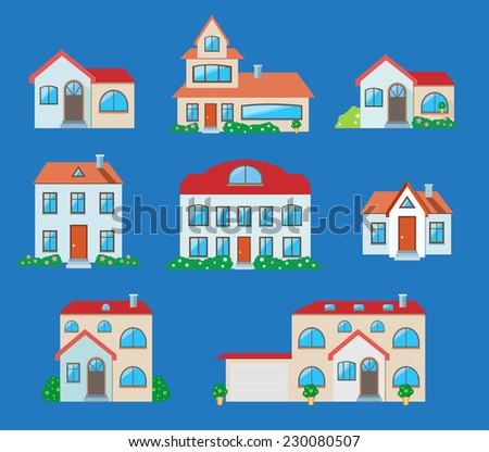 Houses icons set. Real estate in cartoon style on blue background. Raster version - stock photo