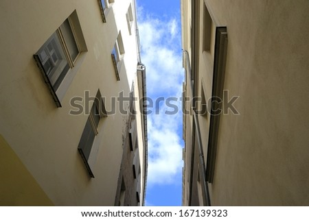 Houses in a narrow street in Brandenburg - stock photo