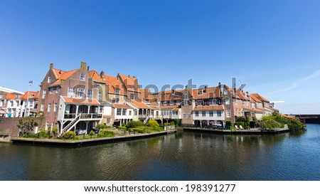 Houses in Enkhuizen, The Netherlands. The city was once one of the harbour-towns of the VOC.  - stock photo