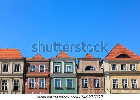 Houses in Old Market Square, Poznan, Poland  - stock photo