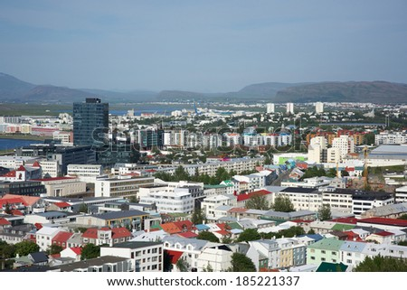 Houses in Reykjavik from above on a sunny day, Iceland - stock photo