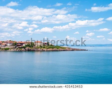 houses in Sozopol town - seaside resort on Black Sea coast in Bulgaria - stock photo