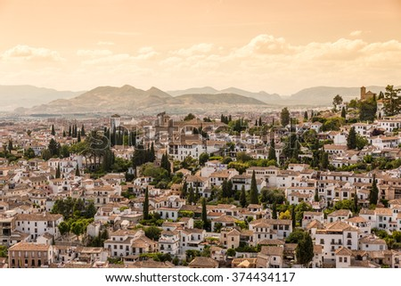 Houses in the city of Granada, Andalusia, Spain - stock photo