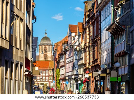 Houses in the Gottingen town center - Germany - stock photo