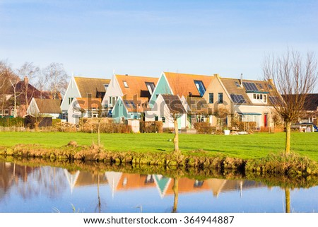 Houses in the rural village of Ransdorp, The Netherlands - stock photo