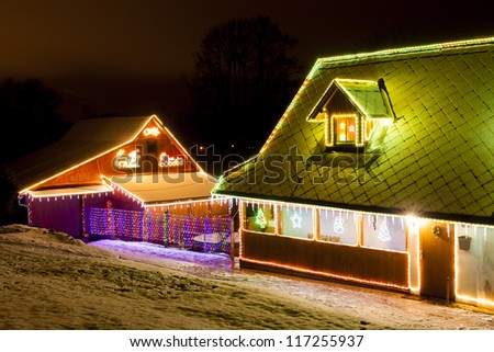 houses in winter at Christmas time, Czech Republic - stock photo