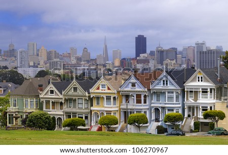 Houses near Alamo Square in San Francisco - stock photo