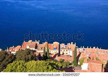 Houses near the sea in Rovinj town in Croatia - stock photo