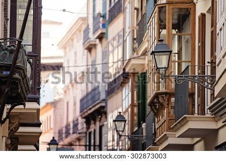 Houses of Palma de Mallorca, Spain - stock photo