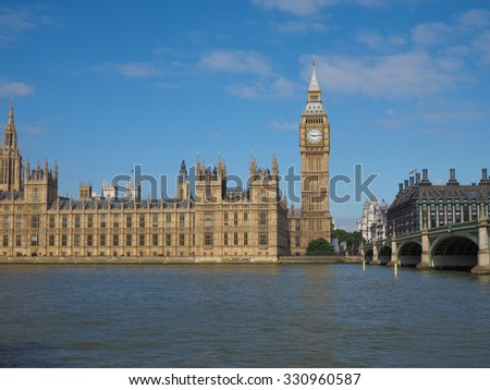 Houses of Parliament aka Westminster Palace in London, UK - stock photo