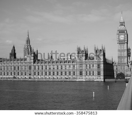 Houses of Parliament aka Westminster Palace in London, UK in black and white - stock photo