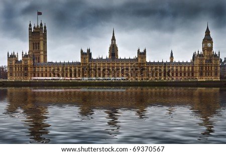 Houses of Parliament, also known as the Palace of Westminster, rebuilt 19th Century by Charles Barry and Augustus Pugin in a Neo-Gothic style. Located in Westminster on the bank of the River Thames. - stock photo