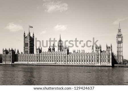 Houses of Parliament and Big Ben in Westminster, London.Sepia - stock photo