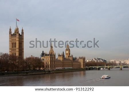 Houses of Parliament and Big Ben, London - stock photo