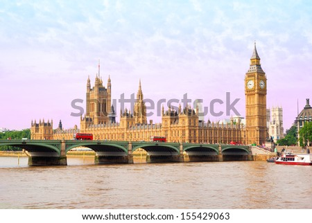 Houses of Parliament and Big Ben Tower with Westminster Bridge view - stock photo