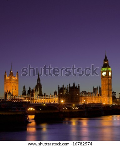 Houses of Parliament at night London - stock photo
