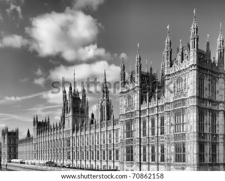 Houses of Parliament, Westminster Palace, London gothic architecture - high dynamic range HDR - black and white - rectilinear frontal view - stock photo