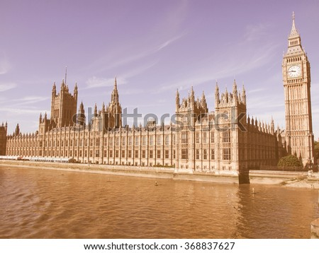 Houses of Parliament Westminster Palace London gothic architecture vintage - stock photo