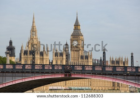 Houses of Parliament with lambeth bridge - stock photo