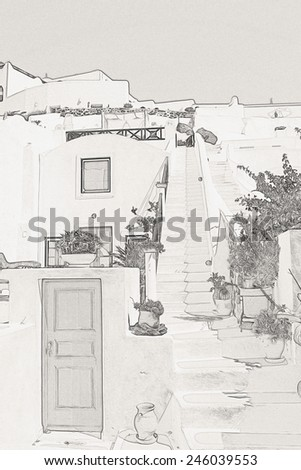 Houses of Santorini in details, pot with flower on the stairs - stock photo