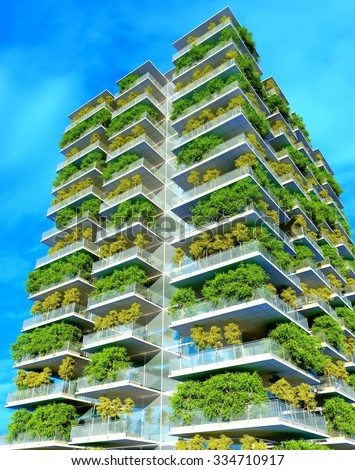 Houses of the future in the forest. - stock photo