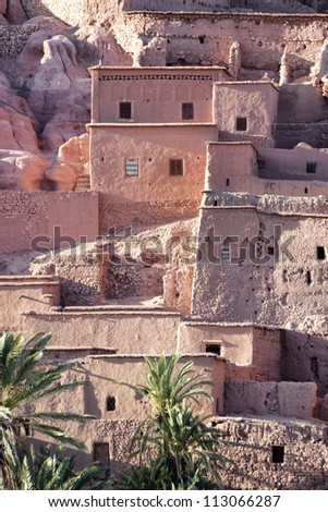Houses of the Ksar and Kasbah Ait Ben Haddou. Detail view of the ksar. - stock photo