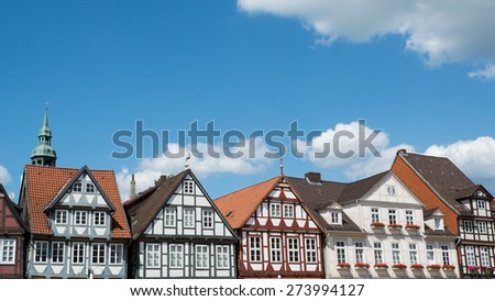 Houses of timber and plaster construction in the old town of Celle, Lower Saxony, Germany dating back to the 16 th century - stock photo