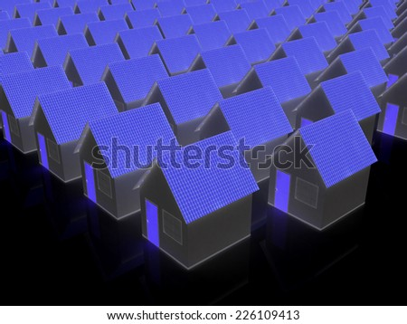 Houses on a black background - stock photo