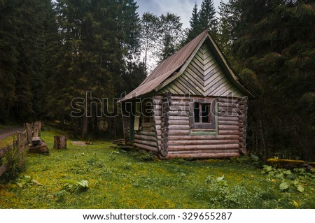 houses on a forest - stock photo