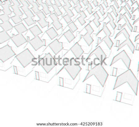 Houses on a white background. Pencil drawing. 3D illustration. Anaglyph. View with red/cyan glasses to see in 3D. - stock photo