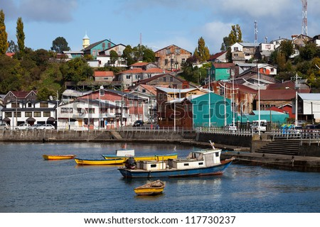 Houses on Chiloe Island, Patagonia, Chile - stock photo