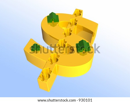 Houses on golden dollar sign. 3D illustration, background.  Financial, real estate concept. Clipping path. - stock photo