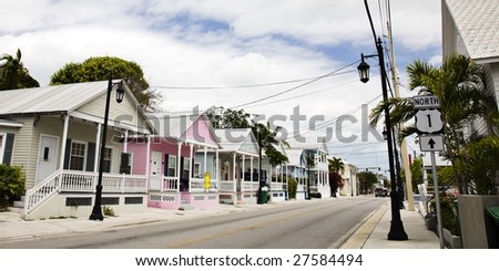 Houses on Route 1 in Key West for sale - stock photo