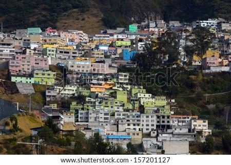 Houses on the El Panecillo hill in Quito, Ecuador - stock photo