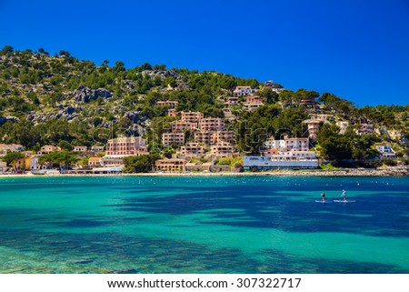 houses on the hill in Port de Soller, Mallorca, Spain - stock photo