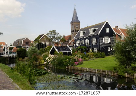 Houses on the island of Marken. Netherlands - stock photo