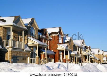 houses on winter - stock photo