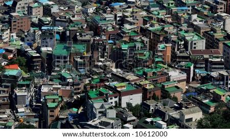 Houses, Seoul, South Korea - stock photo