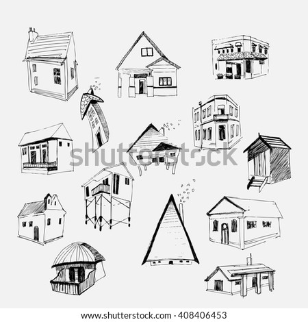 Houses set. Hand Drawn. Made witn ink. - stock photo