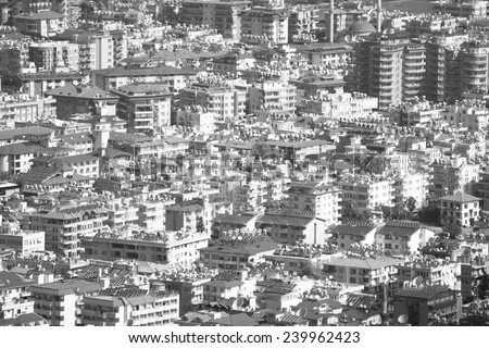 houses shot from above. Black and white - stock photo