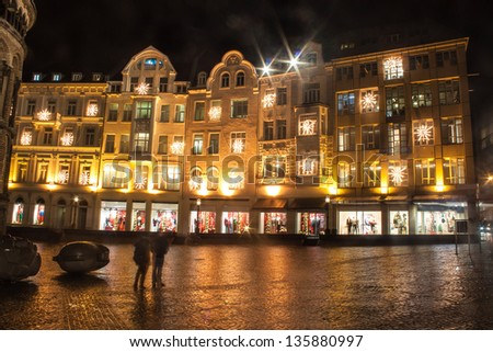 Houses with christmas decoration in Bonn, Germany - stock photo