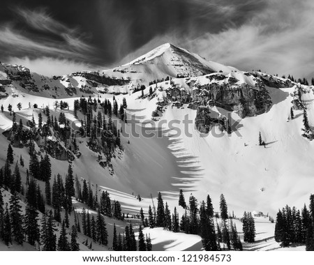 Housetop mountain and tree shadows.  Taken in Grand Teton National Park west of Jackson Hole ski area - stock photo