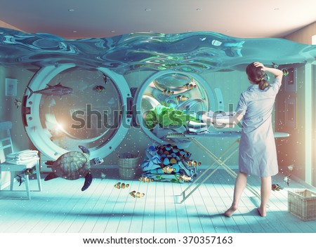 Housewife dreams. Creative concept. Photo combination - stock photo