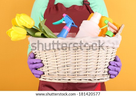 Housewife holding basket with cleaning equipment on color background. Conceptual photo of spring cleaning.  - stock photo