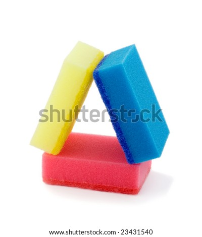 Housework,stack colorful sponges isolated on white background - stock photo