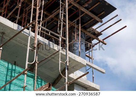 Housing construction in process for living background - stock photo