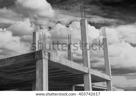 housing construction with the foundations in sight - stock photo