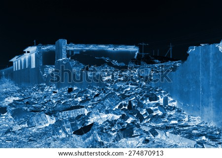 housing demolition materials in the demolition site - stock photo